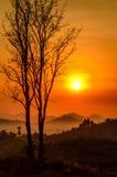 Niebla de la montaña de la mañana Fotos de archivo libres de regalías