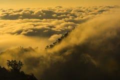 Niebla de la montaña en la salida del sol Imágenes de archivo libres de regalías
