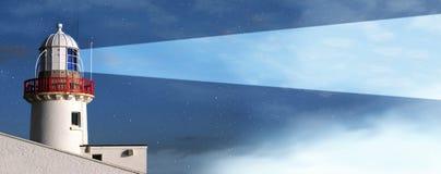 Niebla de la noche del faro Imágenes de archivo libres de regalías