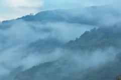 Niebla de la tarde en montaña imagen de archivo