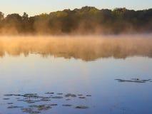 Niebla de oro y agua azul Foto de archivo