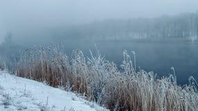 Niebla del invierno en el río imagenes de archivo