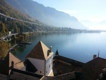 Niebla del lago del chillion de Europa Suiza Fotografía de archivo