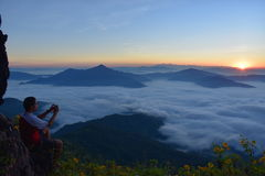 Niebla del mar en Doi Phatang, Chiangrai Imagenes de archivo