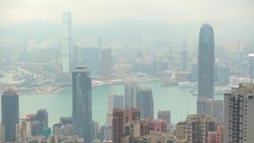 Niebla del revestimiento Hong Kong City de la contaminación almacen de metraje de vídeo
