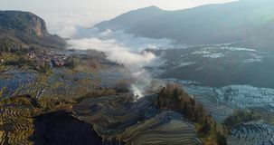 Niebla dinámica sobre campos de la terraza del arroz almacen de video