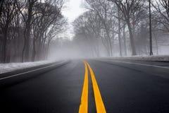 Niebla en el camino Foto de archivo