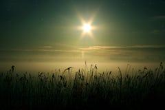 Niebla en el valle del invierno Imágenes de archivo libres de regalías