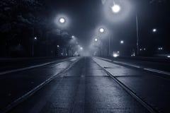 Niebla en la calle en la noche Imagen de archivo libre de regalías