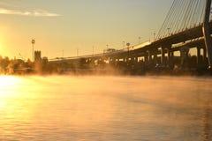 Niebla matutinal en Neva River Fotografía de archivo