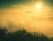 Niebla pesada magnífica en paisaje Salida del sol de la persona chapada a la antigua del otoño en un campo Colina creciente de la Imágenes de archivo libres de regalías