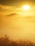 Niebla pesada magnífica en paisaje Salida del sol de la persona chapada a la antigua del otoño en un campo Colina creciente de la Fotografía de archivo
