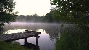 niebla por la mañana almacen de metraje de vídeo