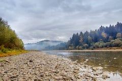 Niebla, rocas, montañas cárpatas Imagen de archivo libre de regalías