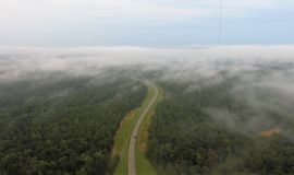 Niebla sobre la carretera con curvas foto de archivo
