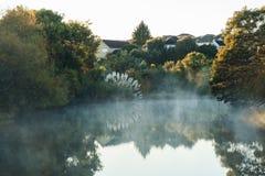 Niebla sobre la charca en el amanecer Imágenes de archivo libres de regalías