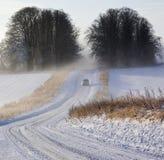 Niebla y nieve - condiciones de conducción del invierno Fotos de archivo libres de regalías