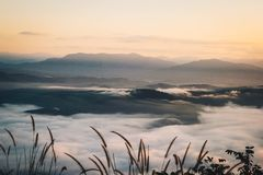 Niebla y niebla por la mañana foto de archivo