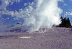 Niebla y vapor de la mañana en Yellowstone foto de archivo libre de regalías