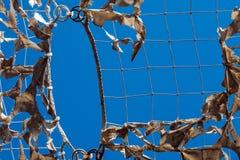 Niebo kamuflażu sieci wojskowy drzejący lekki biały błękitny cień obraz stock