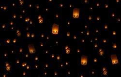 Niebo lampionów fajerwerku festiwal, Loy Krathong i Yi Peng Festiva, Zdjęcie Stock
