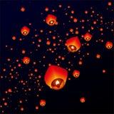 Niebo lampiony, Latający lampiony Fotografia Stock