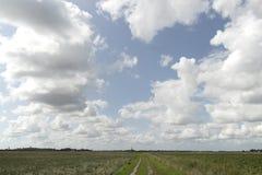 Niebo nad upraw polami w Zeeland, holandie Zdjęcia Royalty Free
