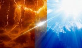 Niebo, piekło, lekki i ciemność, bóg i diabeł, fotografia stock