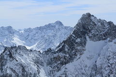 Niebo tereny, panorama Hils, Les Deux Alpes, Francja, francuz Obraz Royalty Free