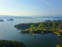 Niebo widok Qiandaohu Tysiąc Wyspa jezior Zdjęcie Royalty Free