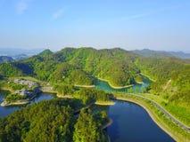 Niebo widok Qiandaohu Tysiąc Wyspa jezior Obraz Royalty Free
