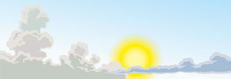 Niebo z chmurami i jaskrawym słońcem słońce i chmury, projekt dla twój projektów royalty ilustracja