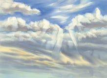 Niebo z chmurami i słońce promieni akwareli tłem Zdjęcie Royalty Free