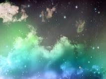 Niebo z chmury i gwiazd Abstrakcjonistycznym Błękitnym kolorem Fotografia Stock