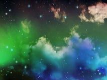 Niebo z chmury i gwiazd Abstrakcjonistycznym Jaskrawym kolorem Obrazy Stock
