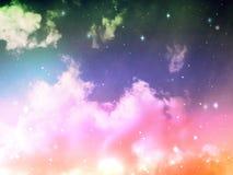 Niebo z chmury i gwiazd Abstrakcjonistycznym lekkim kolorem Zdjęcia Royalty Free