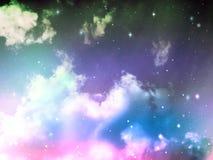 Niebo z chmury i gwiazd fantazi Abstrakcjonistycznym kolorem Zdjęcie Royalty Free