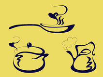 Niecka czajnik i garnek, ilustracji