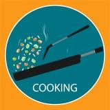 Niecka fertanie smażący kulinarny płaski wektorowy logo Zdjęcia Royalty Free