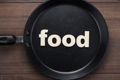Niecka z słowa jedzeniem obraz stock