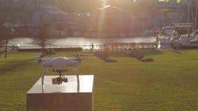 Niecki słońce na białym trutniu - parkowy tło zdjęcie wideo