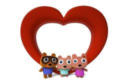Niedźwiadkowa Rodzinna miłość Zdjęcia Stock