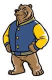 Niedźwiadkowa szkolna maskotka jest ubranym uniwerek kurtkę Zdjęcia Stock