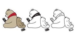 Niedźwiadkowa wektorowa niedźwiedzia polarnego smartphone pastylki postaci z kreskówki ikony logo ilustracja royalty ilustracja