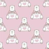 Niedźwiadkowego Bezszwowego Deseniowego niedźwiedzia polarnego miłości wektorowy kierowy valentine odizolowywał tapetowe tło menc Fotografia Royalty Free
