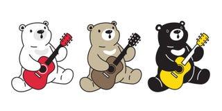 Niedźwiadkowego wektorowego niedźwiedź polarny gitary basowego ukulele postaci z kreskówki ikony logo muzyczna ilustracja ilustracja wektor