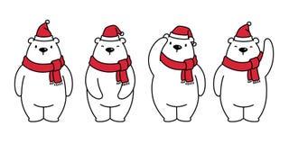 Niedźwiadkowego wektorowego niedźwiedzi polarnych bożych narodzeń Xmas Święty Mikołaj szalika charakteru kreskówki ikony kapelusz ilustracji