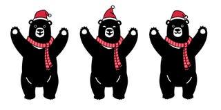 Niedźwiadkowego wektorowego niedźwiedzia polarnego Święty Mikołaj Xmas szalika postać z kreskówki ikony Bożenarodzeniowego loga s ilustracja wektor