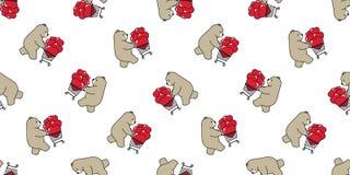 Niedźwiadkowej bezszwowej deseniowej kierowej wektorowej niedźwiedzia polarnego valentine wózka na zakupy torby kreskówki ilustra ilustracji