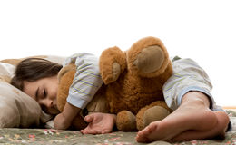 niedźwiadkowej dziewczyny sypialny miś pluszowy Obrazy Stock